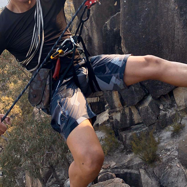NEPTUNE Shorts M90 Grey worn on mountain climb