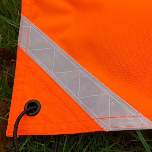 Orange Ruck Signal Panel Marker corner showing reflective stripe.