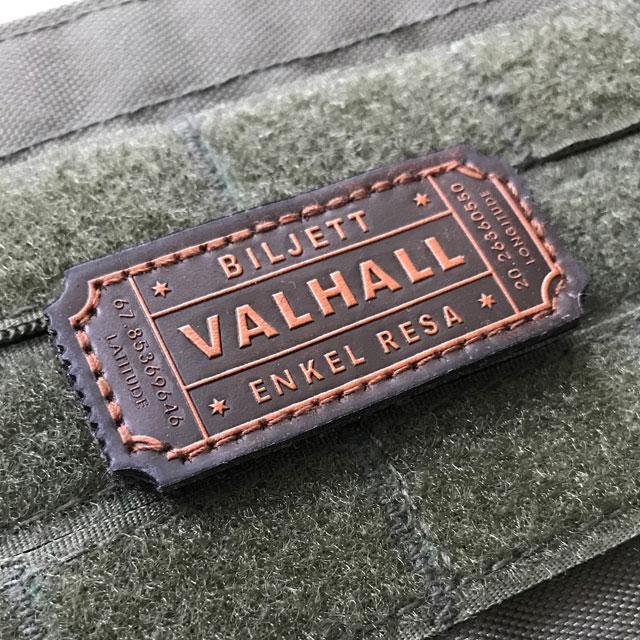 En Biljett Valhall Läder Patch med kardborrebaksida.