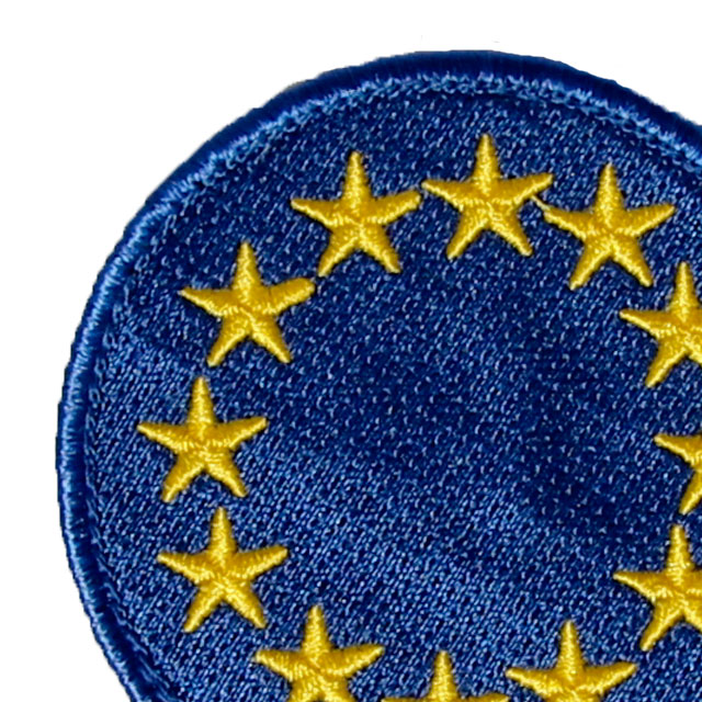 Close up of a EU Blue Embroidered Patch.