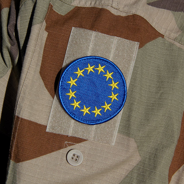 M90K desert sleeve with a EU Blue Embroidered Patch.