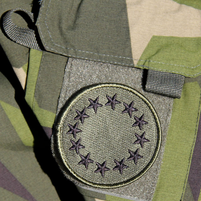 A EU Green Embroidered Patch mounted on a NCWR M90 Jacket.