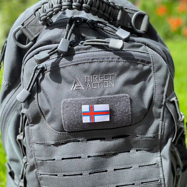 Faroese Flag Hook Patch Small mounted on a rucksack from Direct Action