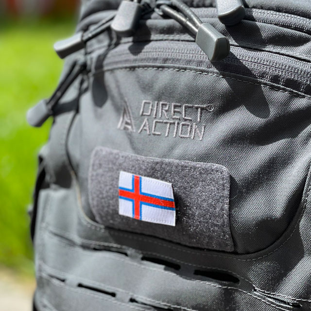 A Faroese Flag Hook Patch Small on a Dragon Egg Rucksack from Direct Action