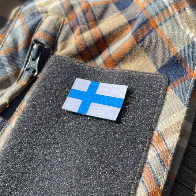 Finland Flag Hook Patch Small from TAC-UP GEAR mounted on a velcro arm