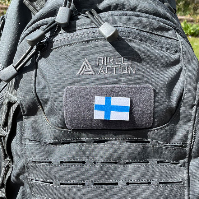 Finland Flag Hook Patch Small from TAC-UP GEAR seen on a rucksack