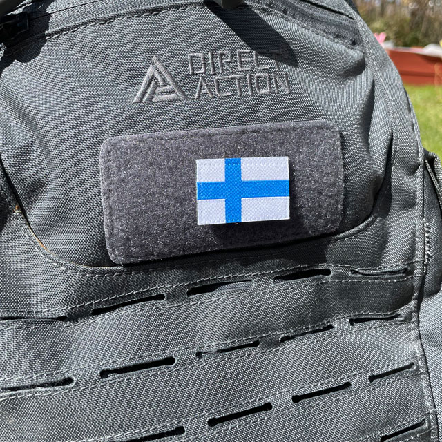 Finland Flag Hook Patch Small from TAC-UP GEAR on a rucksack