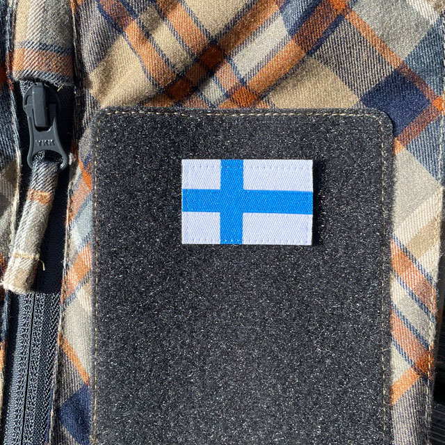 Finland Flag Hook Patch Small from TAC-UP GEAR mounted on a shirt