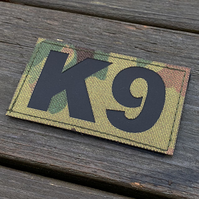 IR - K9 Multicam Hook Patch seen slightly from the side
