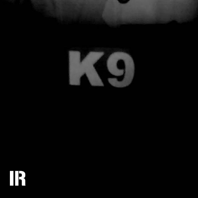 A IR - K9 Multicam Hook Patch seen through a infrared camera