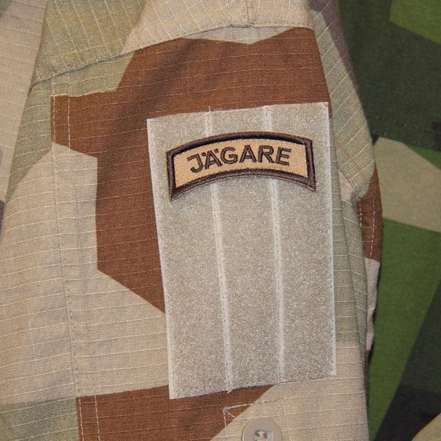 JÄGARE Brown/Sand/Brown Desert Hook Patch on a M90K shirt