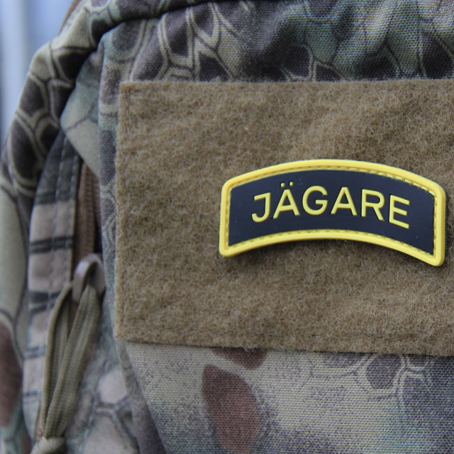 Rucksack mounted JÄGARE Yellow/Black/Yellow PVC Patch.
