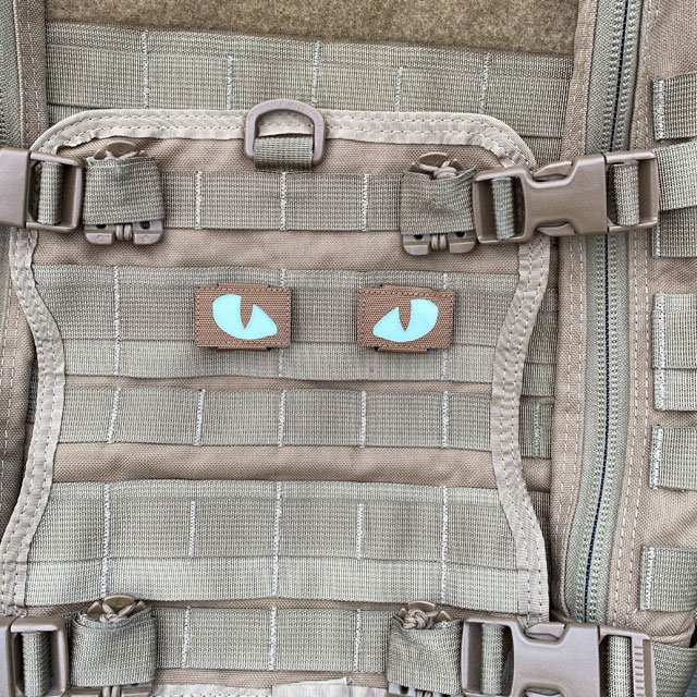 A pair of Lynx Glow Eyes Brown Hook Tube on a FAST Pack Litespeed in Coyote brown from Triple Aught Design