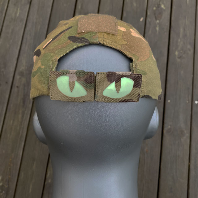 Lynx Glow Eyes Multicam Hook Tube mounted on a Multicam cap