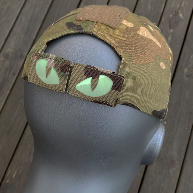 Lynx Glow Eyes Multicam Hook Tube on a cap