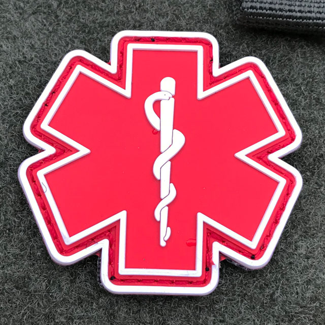 Product photo of the MEDIC PVC Star Red White Hook Patch.