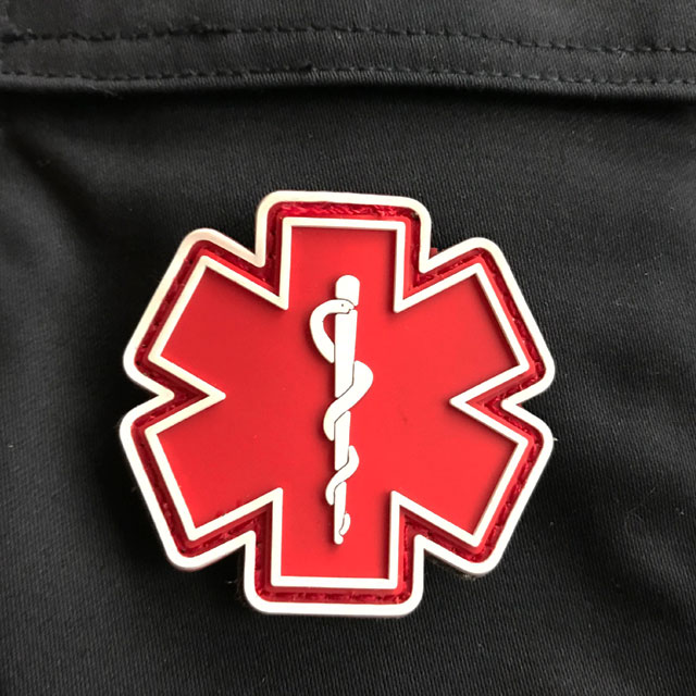 MEDIC PVC Star Red White Hook Patch.