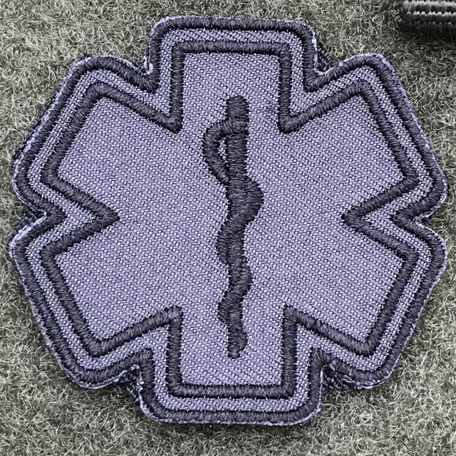 MEDIC Star of Life Black Grey Hook Patch.