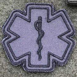 MEDIC Star of Life Black Grey Hook Patch