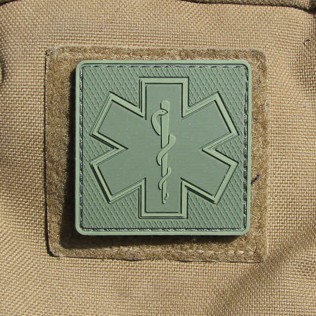 MEDIC Subdued Green Star Hook PVC Patch.