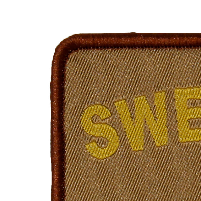 Close up of a SWE MEDIC Desert Star Hook Patch.