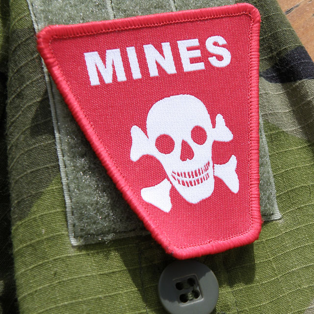 M90 background and a Mines Hook Morale Patch.