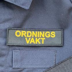 Ordningsvakt Avlång Kardborremärke
