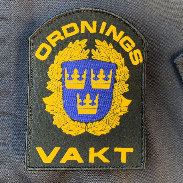 Ordningsvakt Rundad Kardborremärke närbild
