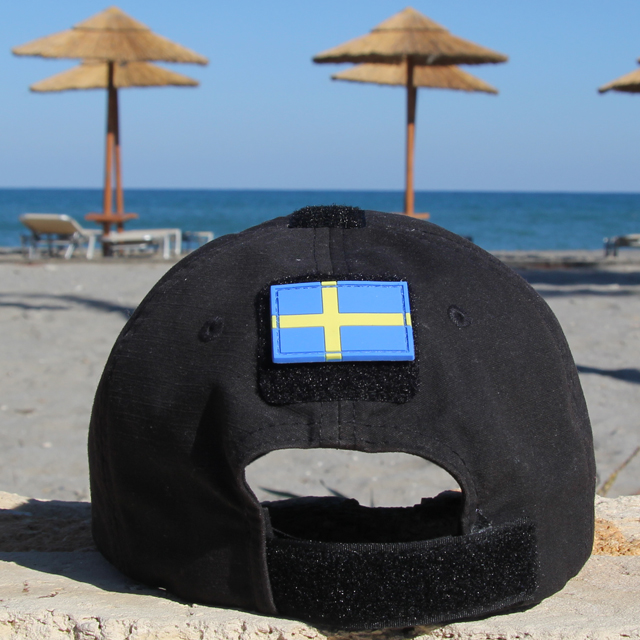 Cap mounted Sweden Flag PVC Arm Patch.