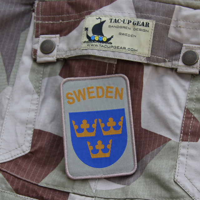 A Sweden hook Patch Desert on a pair of M90K deser camp shorts.