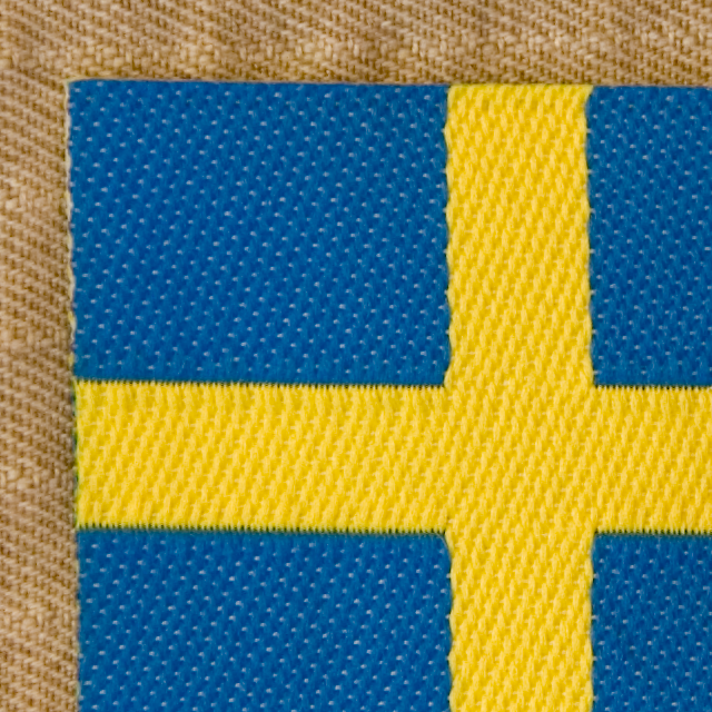 Close up of a Sweden Flag Arm Patch.