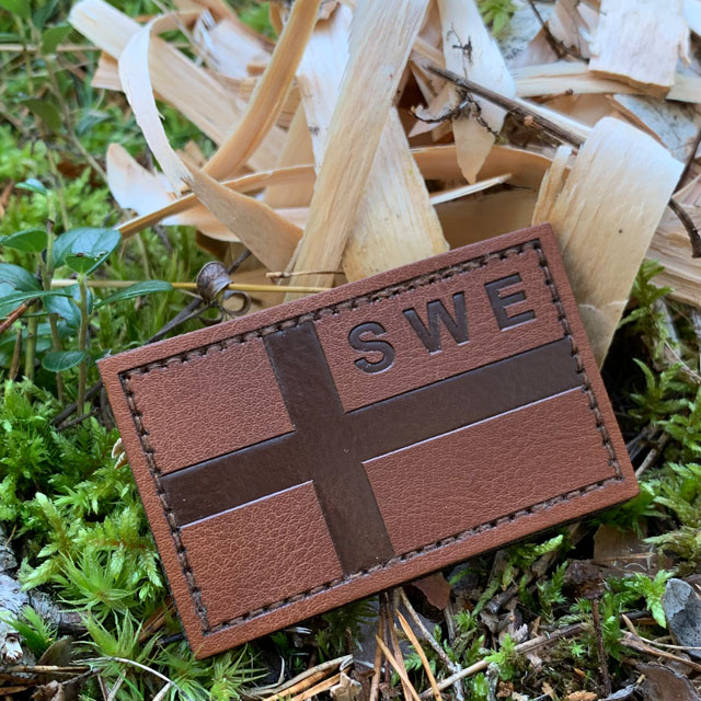 Sweden Flag Leather Patch treated with leather balm and in its true nature!