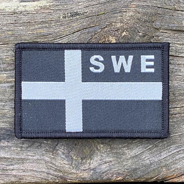 Sweden Flag OPS Black White Patch