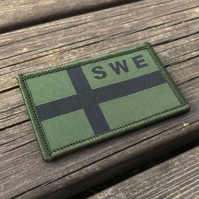 Sweden Flag OPS Nylon Green/Black Patch.