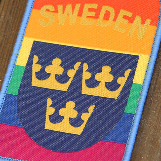Closer view of the Sweden Hook Patch Rainbow Patch.