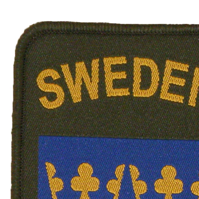 Close up of a Sweden Sew-On Patch Green.