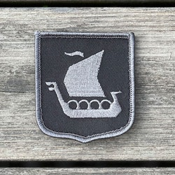 Viking Ship Shield Large Grey and Black Hook Patch