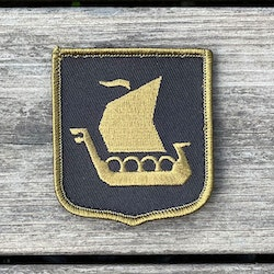 Viking Ship Shield Large Olive and Black Hook Patch