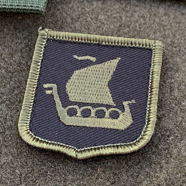 Vikingship Shield Hook Green and Black Patch close up picture
