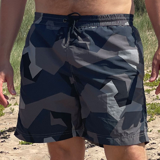 POSEIDON Swim Shorts M90 Grey seen from the front on model