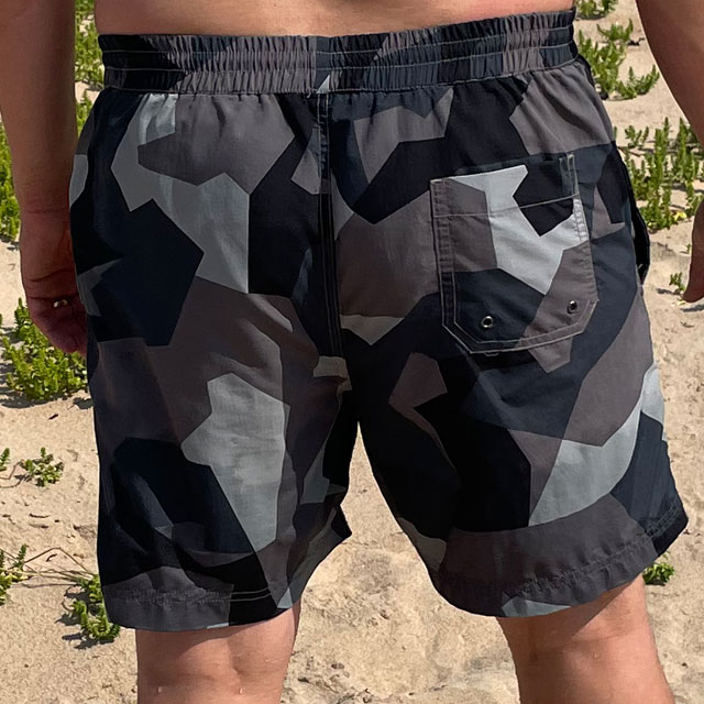 POSEIDON Swim Shorts M90 Grey from TAC-UP GEAR on model seen from the back