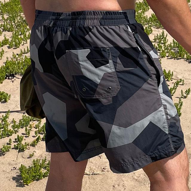 POSEIDON Swim Shorts M90 Grey on model seen slightly from the back