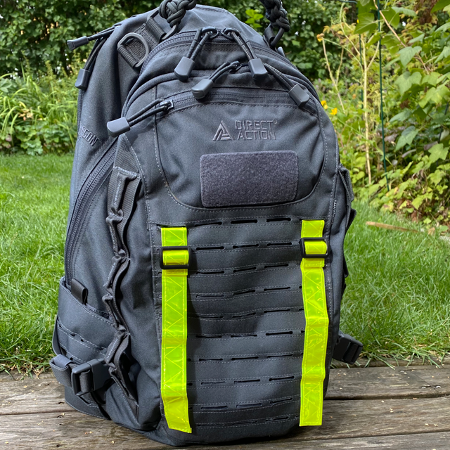 Reflective Stripes Yellow mounted on grey rucksack outdoors