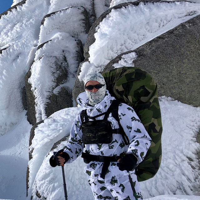 Rucksack Cover M90 used in the snowy mountains