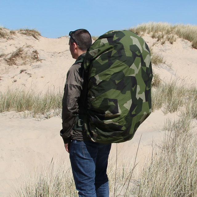 Rucksack Cover M90 back view mounted on a SACCI 120 Litre FJS rucksack