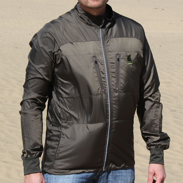 Running Jacket Green front and with desert background.