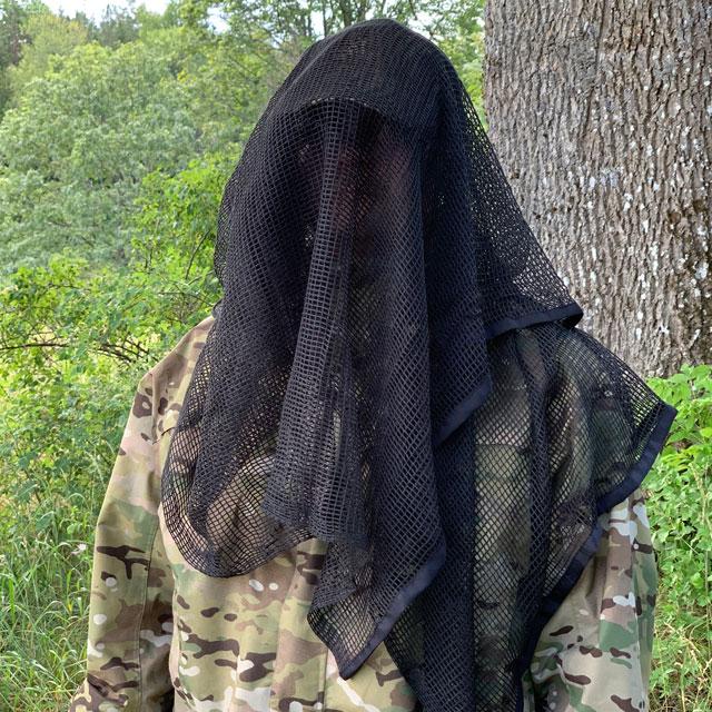 Model draped with a Scrim Net Scarf Black