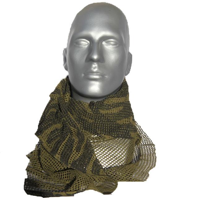 A Scrim Scarf Black/OD Camo wrapped around a mannequin neck.