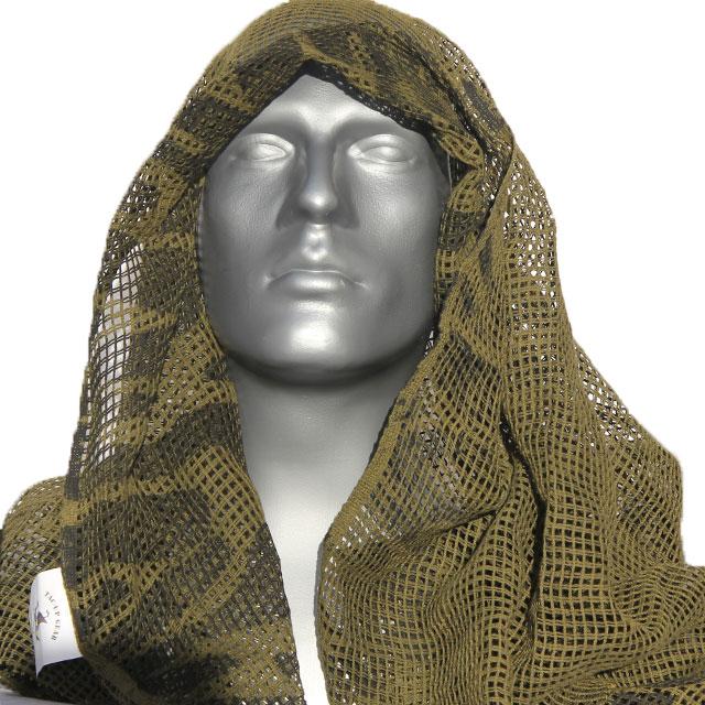 Draped Scrim Scarf Black/OD Camo on a mannequin.