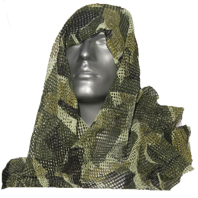 Scrim Scarf M90 draped over the head on a mannequin.